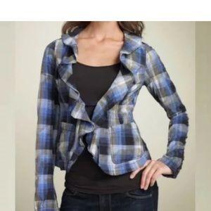 Free people plaid jacket top blue ruffle collar 6